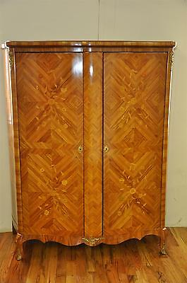 19th c. French Louis XV Inlaid Marquetry Tulipwood Armoire, Bronze Ormolu