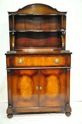 Regency Style Hutch with Secretary Featuring Inlaid Flame Mahogany c. 1900's