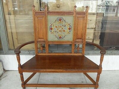 "Victorian Antique Arts & Crafts "" Warings ""  Oak Bench 1880's"
