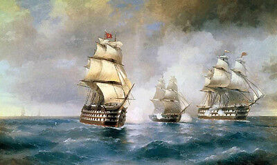 Oil Ivan Constantinovich Aivazovsky - Brig Mercury Attacked by Two Turkish Ships