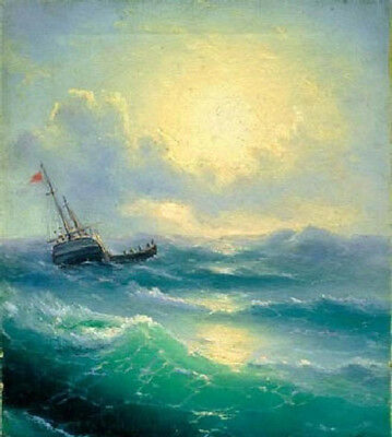 Oil Ivan Constantinovich Aivazovsky - Sea (etude) - seascape with ship on sea