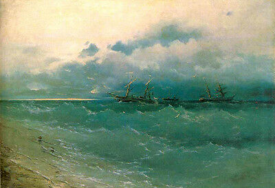 Oil painting Ivan Constantinovich Aivazovsky - The ships on rough sea, sunrise