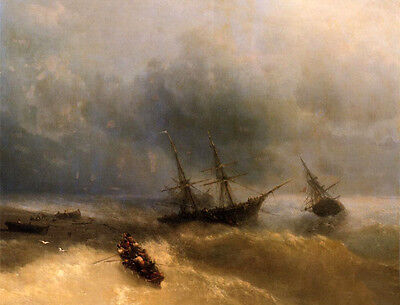 Oil painting Ivan Constantinovich Aivazovsky - The Shipwreck in Evening ocean