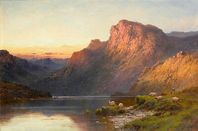 """Dream-art art Oil painting sunset landscape with sheep mountains lake canvas 36"""""""