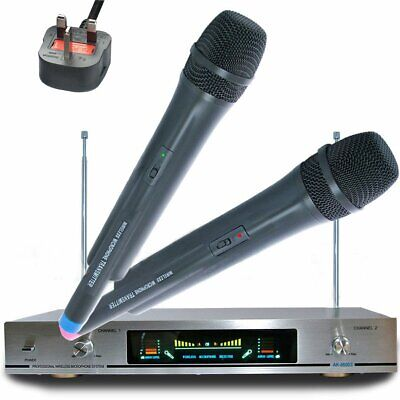 Twin AK-8600 VHF Wireless Cordless DJ Karaoke Public Address PA Mic Microphone