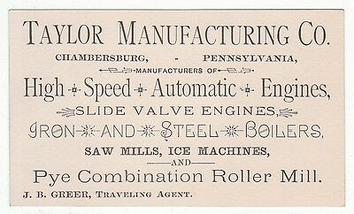 Trade card for Taylor Manufacturing Co. High Speed Automatic Engines. [5316