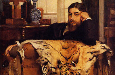 Beautiful Oil painting Tissot - Male portrait Algeron Moses Marsden tiger skin