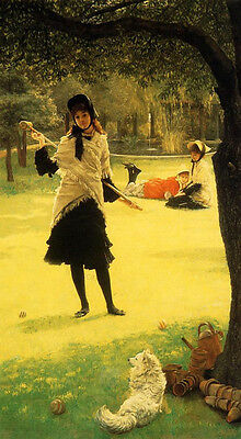Dream-art Oil painting Joseph Tissot - Croquet young lady & her pet dog canvas