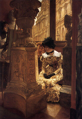 Perfect Oil painting Joseph Tissot - young woman In the Louvre Enjoying art 36""
