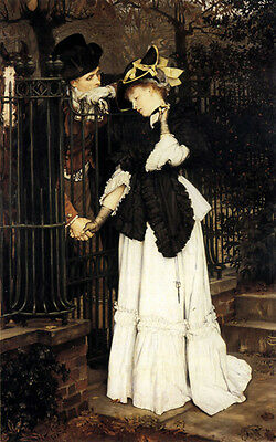 Art Oil painting Joseph Tissot - The Farewell Young lovers portraits canvas 36""