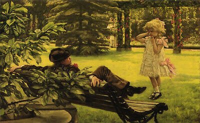 Art Oil painting Joseph Tissot Uncle Fred nice little girl in garden canvas 36""