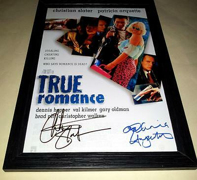 "True Romance Cast X2 Pp Signed & Framed 12""x8"" Poster Christian Slater"