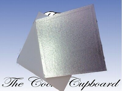 """CAKE DRUM AND BOX  11"""" Round or Square (Cake card rest board tray silver) 27.5cm"""