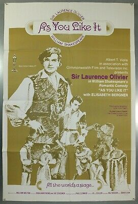 As You Like It -Laurence Olivier / Henry Ainley- Original Usa 1Sht Movie Poster