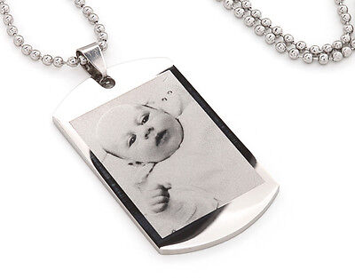 Personalised engraved mens dog tags gift with text & photo engraving - Ref-DTS