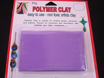 Modelling Polymer Clay Art/Craft Oven Bake 60g Lilac Party Kids FREE POSTAGE