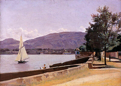 Oil painting Corot - nice summer landscape with sail boat canoe in Geneva 36""