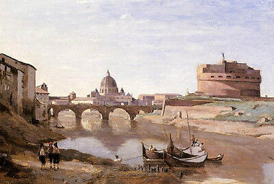 Nice Oil painting Corot - Rome - Castle Sant Angelo children canoes by river 36""