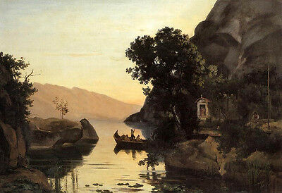 Oil painting Corot - View at Riva Italian Tyrol with canoe on river in sunset