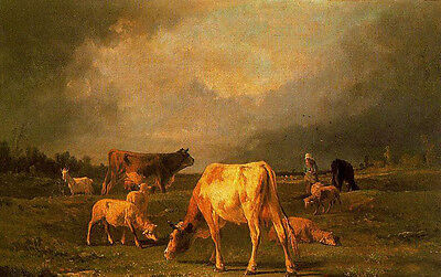 "Huge Oil painting cows cattles with sheep goat in landscape before storm 24""x36"""