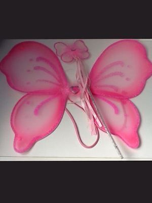 Beautiful Children's Pink Butterfly Fairy Wings and Wand Set Fancy Dress Party