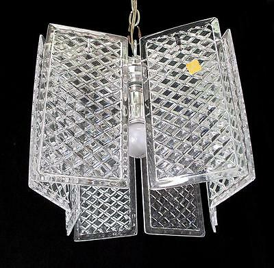 "12"" X 10""  VINTAGE 80's 24 % LEAD CRYSTAL ""WAFFLE DESIGN"" PANEL CHANDELIER"