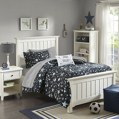 Beautiful Grey Blue Stars Space Moon Comforter Set Complete & Sheets Full Twin