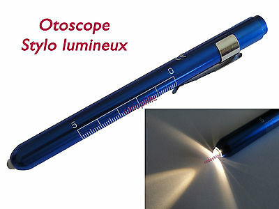 OTOSCOPE - FORME STYLO BLEU LAMPE DIAGNOSTIC MEDICAL + PILES neuf