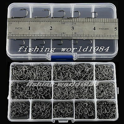 2000 PCS Mixed 10 Different Size Black Carbon Fishing Hooks With Carried Case