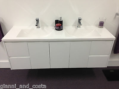BATHROOM VANITY UNIT - 1800mm POLYURETHANE WALL HUNG WITH POLY MARBLE BASIN