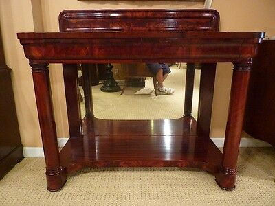 American Empire Pier Table with Flame Mahogany, Mirror, Columns 19th c.