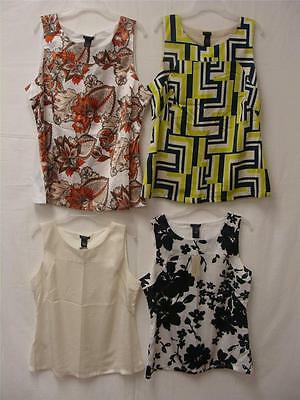 Ann Taylor Women's Sleeveless Silky Front Cotton Back Blouse Multi Colors/Sizes