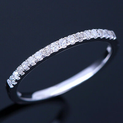 Nice Eternal Pave Real Diamond Solid 10K White Gold Engagement Wedding Band Ring