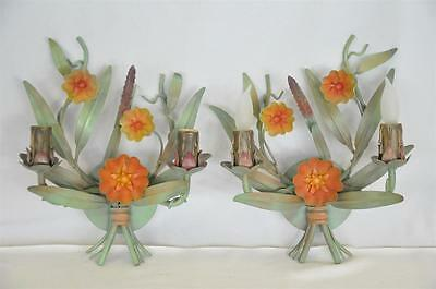 Pair of Antique Hand Painted Metal Floral Sconces, Made in Italy, c. 1940's