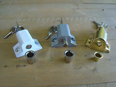 Patio Door Cylinder Lock Face Fix White Brass Silver Press Window Lock 2 Keys
