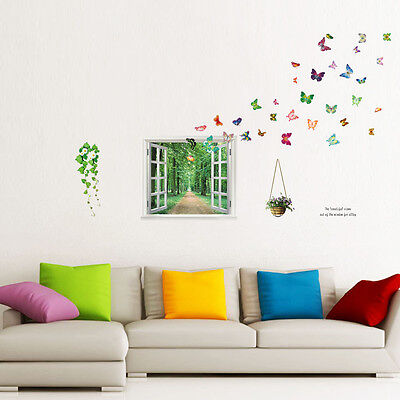 Colorful butterflies Window tree view Wall Stickers Mural Decals Art Décor paper
