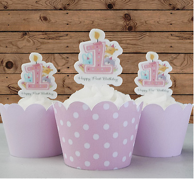 baby girl first 1st birthday candle edible wafer cupcake cake toppers PRE-CUT