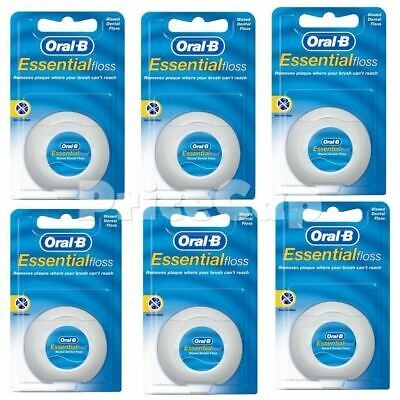 6 X Oral B Floss Essential Regular Waxed  DENTAL 50M  WAX, Same Day Ship