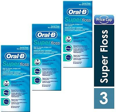 3 x Oral B Super Floss Mint 50 Pre Cut Strands, Dental Floss