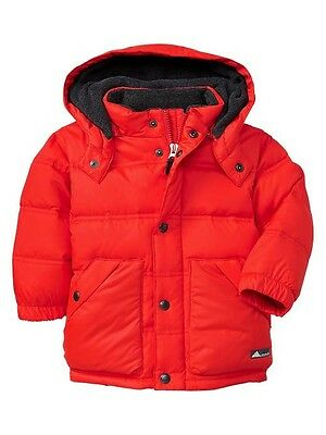 NWT Baby GAP Hooded Warmest Puffy Plush Down Fill Jacket Coat Poster Red Boy 5T