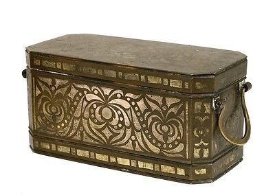 Philippines Betel Nut Bronze with Silver Inlaid Box