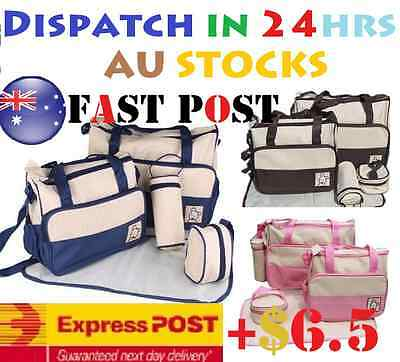 5 Pcs Multi Baby Diaper Nappy Changing Bag Brown, Navy Blue,Pink