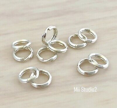 50pcs 5mm solid sterling silver round Split JUMP RING 925 Key chain style R15s