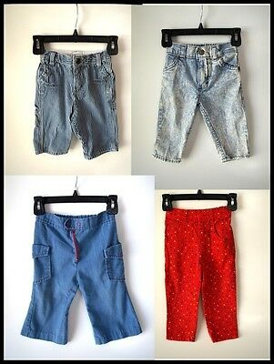 4 pc boys girls VINTAGE PANTS jeans LOT red acid wash hipster baby 12 mo 2T 12mo