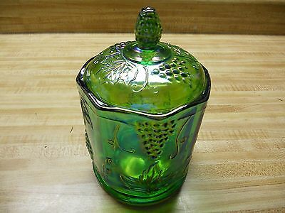 Indiana Glass Carnival Green Canister With Lid - Harvest Pattern