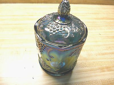 Indiana Glass Carnival Blue Canister With Lid - Harvest Pattern