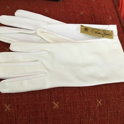 New Pr Vintage Cornelia James Ladies Off White Nylon Acrylic Gloves Stretchy 6In