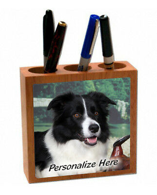 Border  Collie   black and white  Personalized  Pencil and Pen Holder