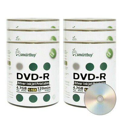 600 Ps SmartBuy Silver Inkjet Hub Printable DVD-R DVDR 16X 4.7GB Recordable Disc