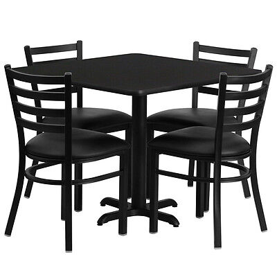 """Restaurant Table Chairs 36"""" Square Black Laminate w/4 Ladder Back Metal chair"""